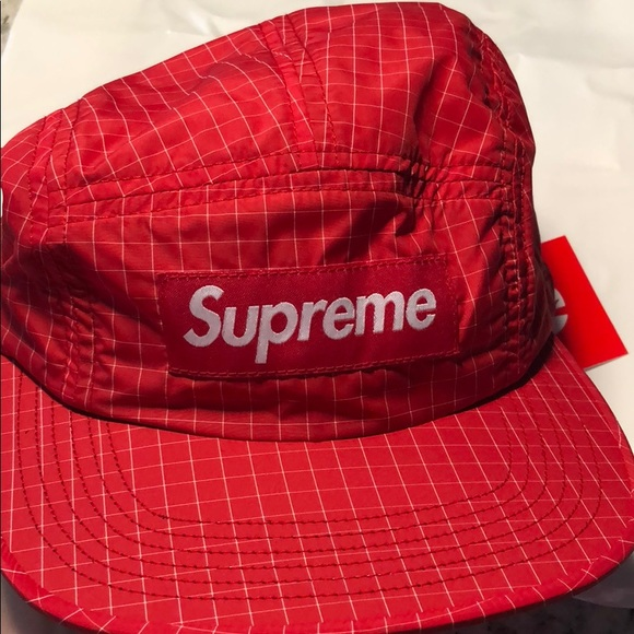 db7775c3199 NWT SUPREME SS18 Contrast Ripstop Camp Cap Red